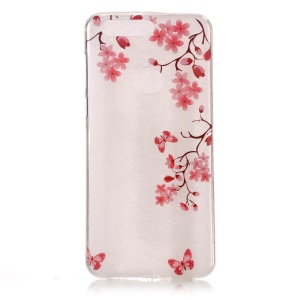 Pattern Printing IMD TPU Mobile Phone Case for Huawei Honor 8 - Butterflies and Flowers