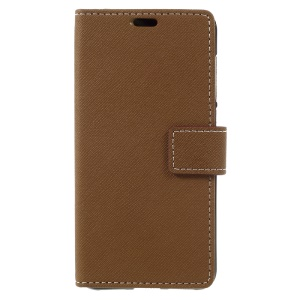 For Huawei P8 Lite (2017) / Honor 8 Lite Leather Wallet Cover Case Cross Texture - Brown