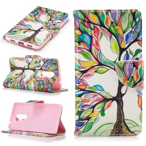 Pattern Printing Leather Wallet Mobile Casing for Huawei Honor 6x (2016) - Colorful Tree