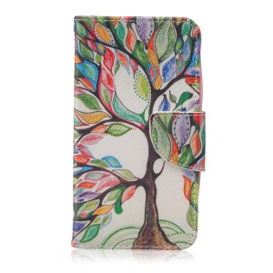 Pattern Printing Leather Wallet Phone Case for Huawei Y5 Y560 - Colored Tree