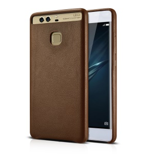 XOOMZ Sheepskin Genuine Leather Coated PC Back Case for Huawei P9 Plus - Brown