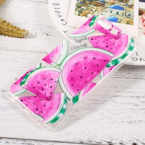For Huawei P10 Pattern Printing Clear TPU Case Cover - Watermelon