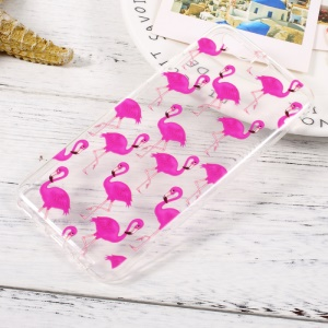 For Huawei P10 Pattern Printing Soft TPU Clear Case - Rose Flamingos