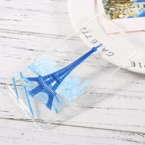 Ultra Thin Patterned Soft TPU Cover Case for Huawei P10 - Blue Eiffel Tower
