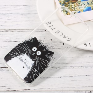 Patterned Clear TPU Mobile Phone Case for Huawei P10 - Black and White Cats