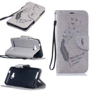 For Huawei Y3II / Y3 II Imprinted Feather Wallet Leather Phone Case Stand - Grey