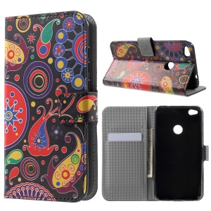Wallet Leather Stand Case for Huawei P8 Lite (2017) / Honor 8 Lite - Paisley Flowers