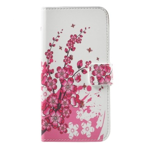 Leather Stand Case with Card Slots for Huawei P8 Lite (2017) / Honor 8 Lite - Plum Blossom