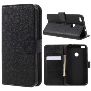 Litchi Grain Leather Wallet Mobile Case for Huawei P8 Lite (2017)/Honor 8 Lite - Black