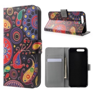 Patterned Leather Wallet Stand Case for Huawei P10 - Paisley Pattern