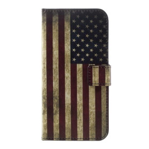 For Huawei P10 Phone Case Wallet Leather Patterned Shell - Vintage US American Flag