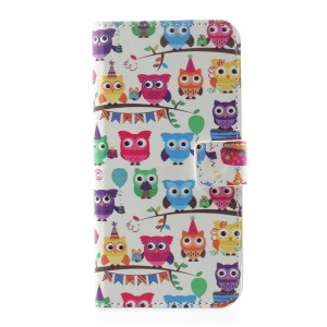 For Huawei P10 Mobile Accessory Leather Wallet Patterned Case - Lovely Colored Owls