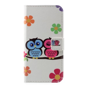 Patterned PU Leather Wallet Cell Phone Case for Huawei P10 - Owl Lovers
