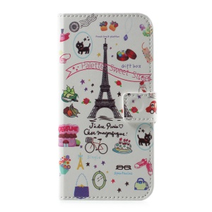 Pattern Printing Stand Card Slots Leather Case for Huawei P10 - Palettes Sweet Street