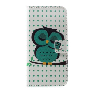 For Huawei P10 Patterned Leather Wallet Mobile Cover - Green Owl and Polka Dots