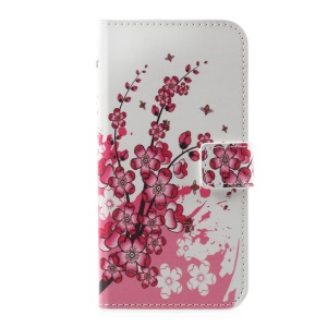 For Huawei P10 Patterned Leather Magnetic Wallet Flip Cover - Plum Flowers
