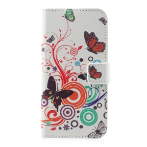 Patterned PU Leather Wallet Flip Case for Huawei P10 - Butterflies and Circles