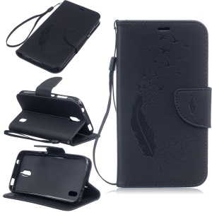 Imprinted Feather Wallet Leather Cell Phone Case with Lanyard for Huawei Y625 - Black