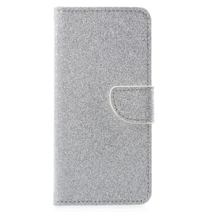 Glittery Smooth Leather Wallet Folio Flip Case for Huawei Honor 8 - Silver