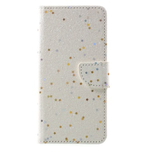 Shiny Star Sequins Leather Wallet Mobile Case for Huawei Honor 8 - White