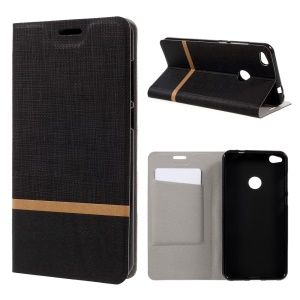 Cross Pattern Leather Card Holder Case for Huawei P8 Lite (2017) / Honor 8 Lite - Black