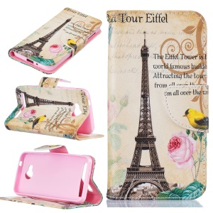 Patterned Leather Mobile Phone Casing for Huawei Y3II / Y3 II - Eiffel Tower