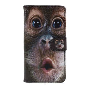 Wallet Leather Stand Cover for Huawei Y5II/Y5 II/Honor 5 - Monkey Pattern