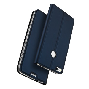 DUX DUCIS Skin Pro Series for Huawei P8 Lite (2017) / Honor 8 Lite Leather Card Holder Cell Phone Shell - Dark Blue