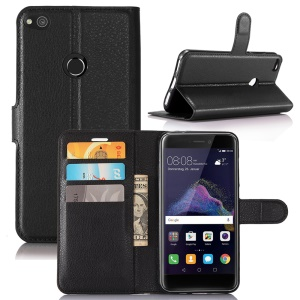 Litchi Grain 3 Card Holders Wallet Leather Case for Huawei P8 Lite (2017) / Honor 8 Lite - Black