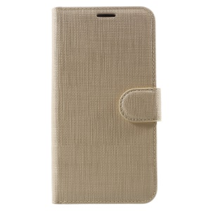 Cloth Texture Wallet Leather Phone Cover for Huawei P8 Lite (2017) / Honor 8 Lite - Gold