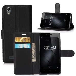 Litchi Skin Wallet Leather Stand Case for Huawei P10 - Black