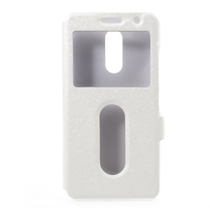 Silk Texture Dual Window Leather Mobile Cover for Lenovo K6 Power - White