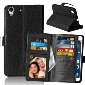 9 Card Slots Crazy Horse Wallet Leather Mobile Case Stand for Huawei Y6 II/Y6II/Honor 5A - Black