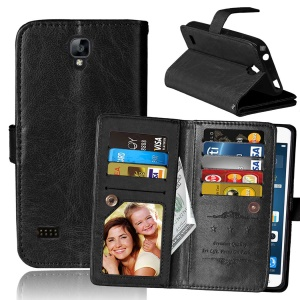 Crazy Horse Leather Phone Case Built-in 9 Card Slots for Huawei Y5 Y560 - Black