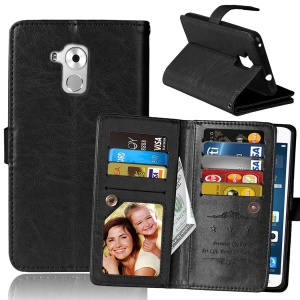 Built-in 9 Card Slots Crazy Horse Leather Wallet Cover for Huawei Honor 5c/GT3/Honor 7 Lite - Black