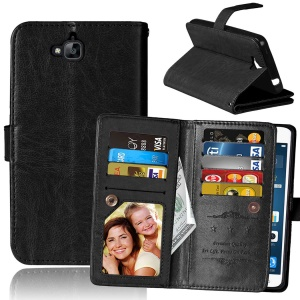 Crazy Horse Leather Stand Case with 9 Card Slots for Huawei Y6 Pro / Enjoy 5 - Black