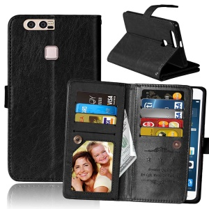 Crazy Horse Leather Wallet Case with 9 Card Slots for Huawei P9 Plus - Black