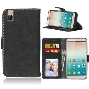 Vintage Matte Wallet Leather Stand Cover for Huawei ShotX/Honor 7i - Black