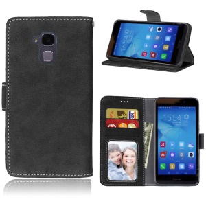 Vintage Style Matte Leather Wallet Stand Cover for Huawei Honor 5c/GT3/Honor 7 Lite - Black