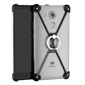 OATSBASF for Huawei Mate 8 / Ascend Mate8 X-shape Metal Phone Case with Ring Stand - Black