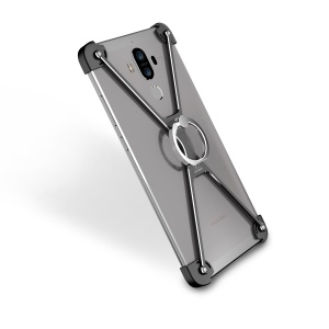 OATSBASF Laser Carving X Shaped Metal Frame Case with Grip Ring for Huawei Mate 9 - Black