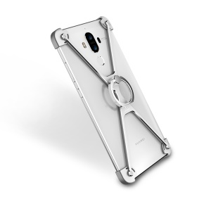 OATSBASF X Shaped Laser Carving Metal Frame Bumper with Ring Stand for Huawei Mate 9 - Silver