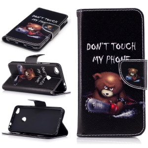 Patterned Leather Wallet Stand Case for Huawei P8 Lite (2017) / Honor 8 Lite - Bear and Do Not Touch My Phone