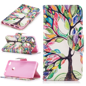 Patterned Wallet Leather Protective Cover for Huawei P8 Lite (2017) / Honor 8 Lite - Colorized Tree