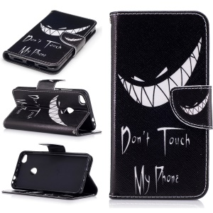 For Huawei P8 Lite (2017) / Honor 8 Lite Patterned Leather Wallet Cover - Ghost and Do Not Touch My Phone