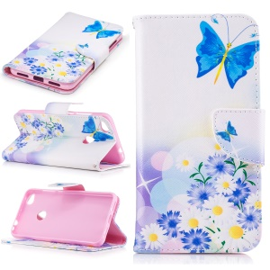 Pattern Printing Leather Wallet Flip Case for Huawei P8 Lite (2017) / Honor 8 Lite - Flowers and Blue Butterfly