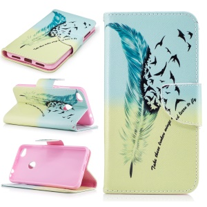 For Huawei P8 Lite (2017) / Honor 8 Lite Pattern Printing Leather Wallet Stand Cover - Feather and Birds