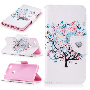 Patterned Wallet Leather Flip Cover for Huawei P8 Lite (2017) / Honor 8 Lite - Flower Tree Painting