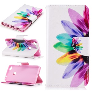Pattern Printing Leather Wallet Phone Cover for Huawei P8 Lite (2017) / Honor 8 Lite - Colorful Petals