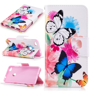 Patterned Leather Wallet Phone Case for Huawei P8 Lite (2017) / Honor 8 Lite - Butterflies with Flowers